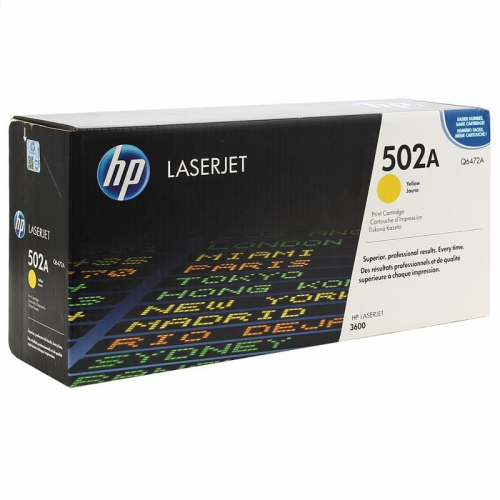 (Уценка)Картридж HP 502A Q6472A - НТВ-2 для Color LaserJet CP3600, 3600dn, 3600n, 3800  желтый  (4 000 стр.)