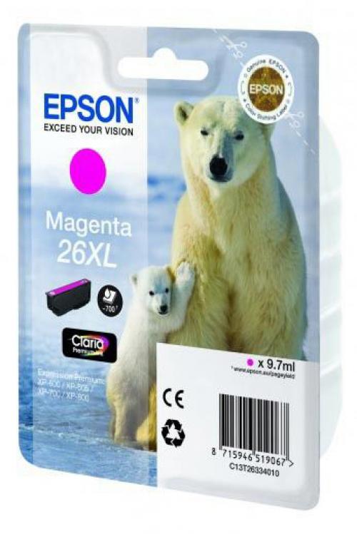 Оригинальный картридж EPSON 26XL (700 стр., пурпурный)