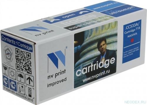 Совместимый картридж NV Print для HP CC533A/Canon 718 Magenta (2800 стр., пурпурный)