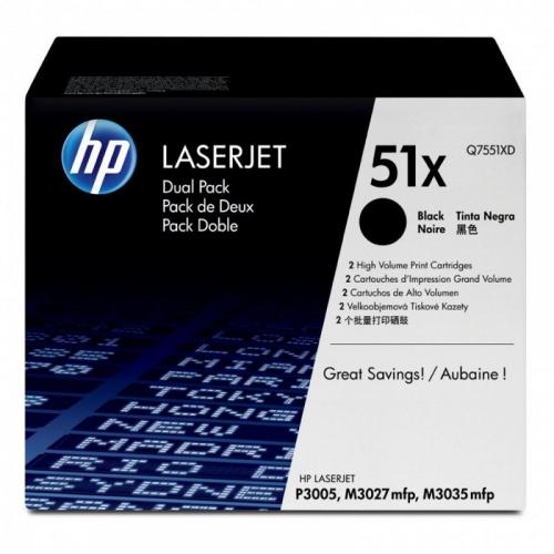 (Уценка)Картридж HP Q7551XD - НТВ-1 для LaserJet P3005, M3027, M3035 Twin Pack  черный  (2 * 13 000 стр.)