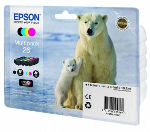 Комплект оригинальных картриджей EPSON 26 (200 стр., черный + голубой + пурпурный + желтый)
