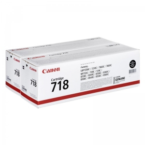 Картридж CANON 718 BK черный, набор из 2 картриджей