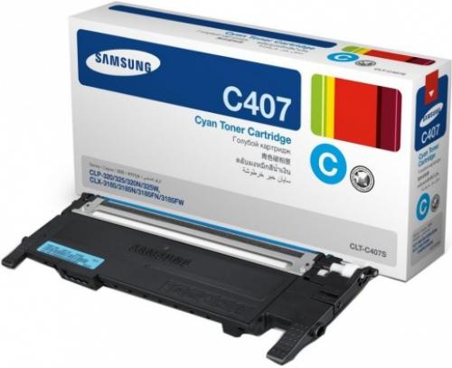 (Уценка)Картридж Samsung CLT-C407S/SEE - НТВ-3 для CLP-320/325/CLX-3185  голубой  (1 000 стр.)